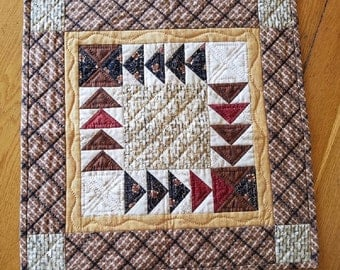 "Small Tabletop Quilt, Flying Geese, 18.5"" square, Thanksgiving and Autumn Decor"