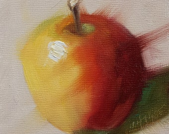 "Small Original Oil Painting, Red and Yellow Apple, 4 x 4 x 1.5"" Frame Not Needed, Wall Art, Kitchen Art"