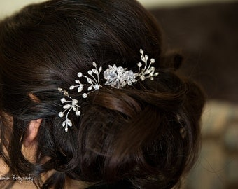 Crystal Bridal Hair Pin, Crystal  Flower,  Wedding Headpiece, Rhinestone Hair Vine, Bridal Hair Pin