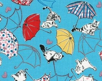 Radiant Girl Fabric by Lecien - Kitty Umbrella L49180-70 Blue