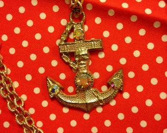 Vintage Japan Showa Era Retro Girl Anchor Faux Diamond Pendant Necklace With Gold Tone Chain