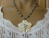 Pearl Necklace, Flower Pendant, Necklace & Earring Set,