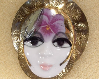 Vintage Lady Face Pin Brooch Woman Head PORCELAIN Figural Flapper