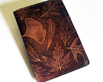 "Leather Journal Cover - Moleskine Notebook Cover - Fits 5"" x 8.25"" Cahiers - With Leaf Pattern"
