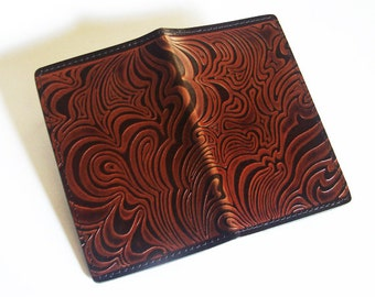 Leather Checkbook Cover with Op-Art Cloud Pattern