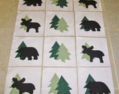 """Set of 12 Applique 6"""" x 6"""" Quilt Blocks  ...  Moose Bear and Pine Trees"""