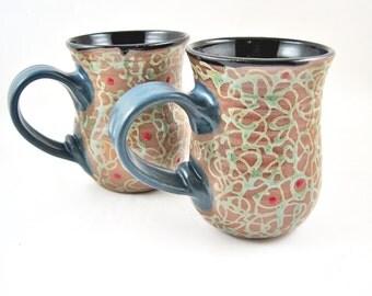 Pottery mug, Large Handmade mug, Ceramic mug, 16-18 oz. unique gift- In Stock
