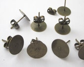30 Pieces ( 15 Pairs ) of Antiqued Bronze Posts Earrings With 10mm Pad & Back