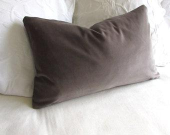 VELVET decorative Pillow 12x20 includes insert gray velvet fabric
