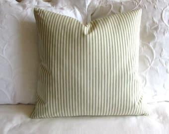 FRENCH TICKING pillow cover green white 16x16 18x18 20x20 22x22 24x24 26x26