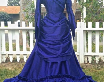 Gothic Mina Dracula Victorian Bustle Gown Halloween Wedding Gothic Custom Gown any Color