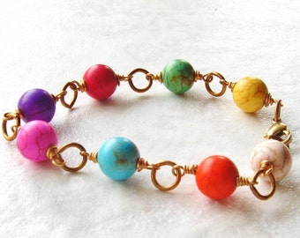 Boho Multicolor Bracelet Howlite Stone Link