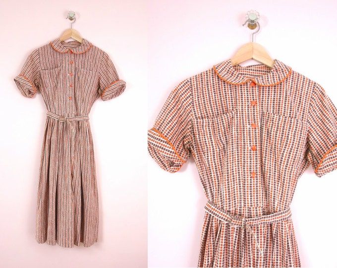 1950s Summer Cotton Day Dress S