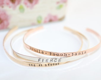 Stacking Bracelet - Sterling Silver Bracelet - Rose Gold Bracelet - Gold Bracelet - Mothers Day Gift for Mom - Skinny Cuff Bracelet