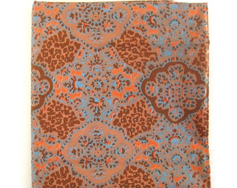 Vintage Cotton Fabric - Indian-inspired Print in Brown Salmon and Blue
