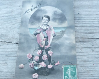 Vintage Antique 1912 French real recolored photography postcard boy with fish /first of April