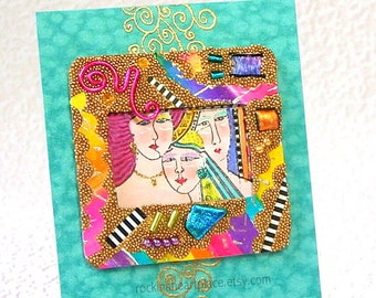 ACEO  mixed-media microbead collage  Three Times A Lady collage art card in turquoise