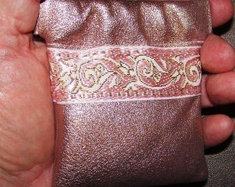 Metallic Pink Champagne LEATHER Coin Purse Embroidered Trim