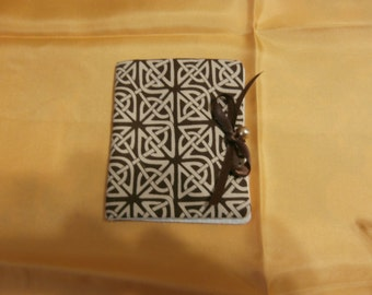 NEEDLE HOLDER CASE Made From Irish Celtic Knot Fabric Needle Keeper with Bonus Scissor Holder Reduced