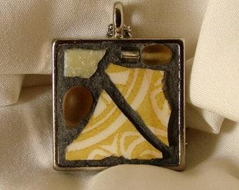 Mosaic Necklace - Wearable Art Jewelry - Mustard and Ivory Necklace - OOAK Art - Mosaic Artwork - Mosaic Jewelry - OOAK Jewelry - Mosaic Art