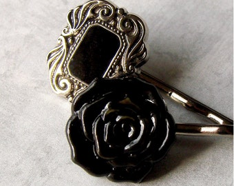 Black Rose and Black and Silver Scroll Bobby Pin Pair - The Dark and Dainty Duo
