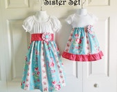 Matching Big Sister Little Sister Outfits - Peasant Dress and Onesie Dress - Rosewater Collection