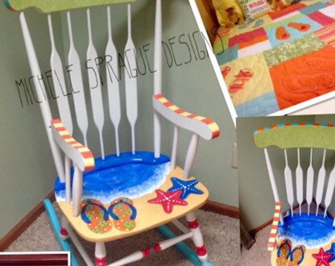 Painted Adult Rocking Chair // Custom Painted Adult Chair // Whimsical Painted Furniture // Nautical Furniture