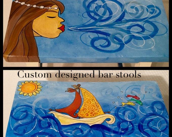 Whimsical painted bar stool, custom bar stool, nautical stool, painted furniture