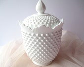 Large Vintage Fenton Milk Glass Hobnail Cookie Jar - Cottage Chic