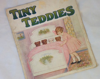 Antique Linen Book, Tiny Teddies, Linenette Book, Vintage Book About Teddy Bears