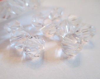 100 Clear Bicone Beads Jewelry Making
