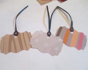 10 Mixed Orange Handmade Gift Hang Tags
