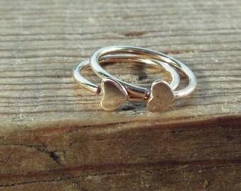 Hoop Earrings Gold Tiny Hearts - Tiny hoop Earrings, Small Hoop Earrings, Heart Hoop Earrings, Deco Hoops, Everyday Hoops, Minimal Hoops