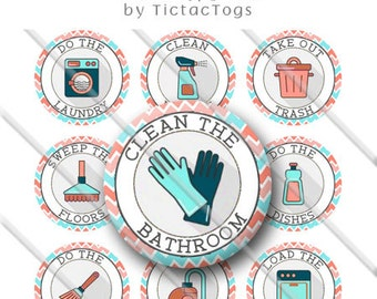 Printable Cleaning Chore Chart Behavior Reward Boys and Girls Bottle Cap Images 1 Inch Circles Collage 4 x 6 - Instant Download BC547
