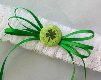 Four Leaf Clover White Green Party Garter or Wedding Garter St. Patrick's Day