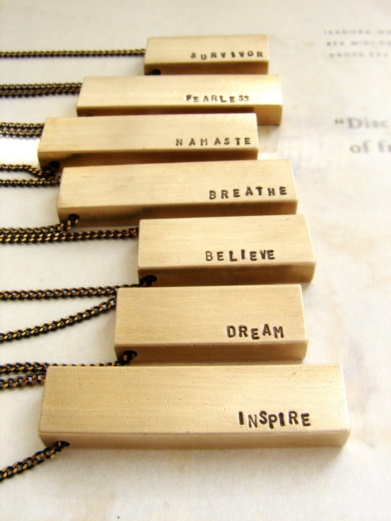 Personalized men's necklace, gift for graduate, Custom hand stamped mantra necklace, brass bar pendant, personalized name necklace