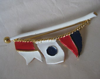 Nautical Flags Brooch Red White Blue Gold Vintage Pin LJM