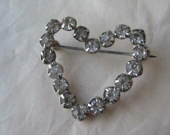 Heart Rhinestone Silver Brooch Vintage Pin Clear