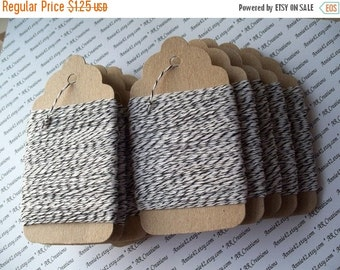 50% Vac. Sale Elegant Black Bakers Twine 25 Yards in BLACK and WHITE on a Chipboard Hanging Tag for Scrapbooking, Card Making, Party Favors,