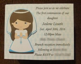Communion Invitation, Any Occasion Invitation, Custom 3D Handmade Invite, Thank You Card, Handmade by AR