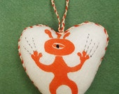 Spaceboy Heart, original block printed, hand embroidered heart ornament