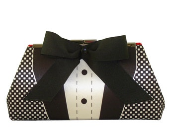 FREE Shipping - Tuxedo Bow Tie Clutch Purse - Chain Strap - Black Tie Event - Red Silk Lining - Made in the USA by UPSTYLE
