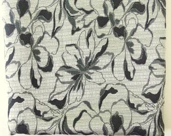 2 Yds. Vintage Brocade Fabric Yardage, Bold Black and Gray Flower Print