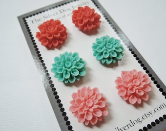 Earrings Three Pack of Mums Coral Orange Pink, Light Pink and Aqua Teal Blue