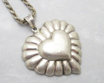 Sterling Heart Necklace Large Pendant Vintage Jewelry N7023