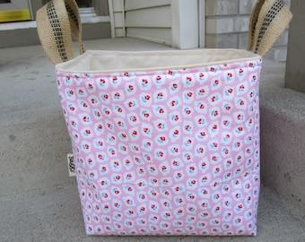 Fabric Storage Bin knitting crochet project tote