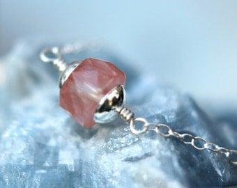 Rose Quartz Necklace, Cherry Quartz Pendant, Pale Pink, Sterling Silver