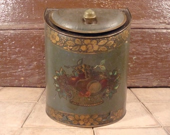 Large old tea tin with beautiful floral design and hinged lid- old, solid, fine vintage condition, beautiful home decor