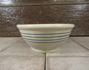 Beautiful and solid stoneware bowl with three blue stripes- functional, great shape, solid