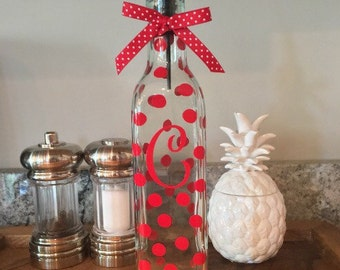 Personalized Polka Dot Soap Dispenser Oil Vinegar Glass